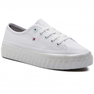31612be7a197c Tenisówki TOMMY HILFIGER - Outsole Detail Flatform Sneaker FW0FW04134 White  100