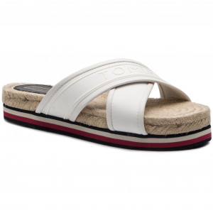 6d44d7ae Espadryle TOMMY HILFIGER - Colorful Tommy Flat Sandal FW0FW04159 Whisper  White 121