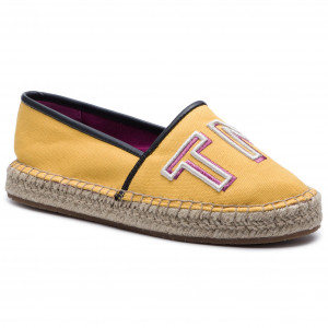 bb8ee6bf03aa7 Espadryle TOMMY HILFIGER - Colorful Tommy Flat Espadrille FW0FW04166  Spectra Yellow 730