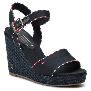 0667144239adf Espadryle TOMMY HILFIGER - Corporate Detail High Wedge FW0FW04174 Midnight  403