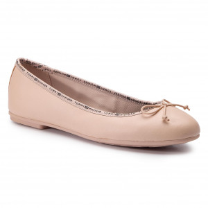 94be31e006246 Baleriny TOMMY HILFIGER - Leather Ballerina Tommy Branding FW0FW04439 Cream  Tan 904