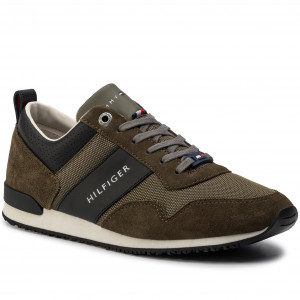 9dc68ee36 Sneakersy TOMMY HILFIGER - Iconic Material Mix Runner FM0FM02273 Olive  Night 010
